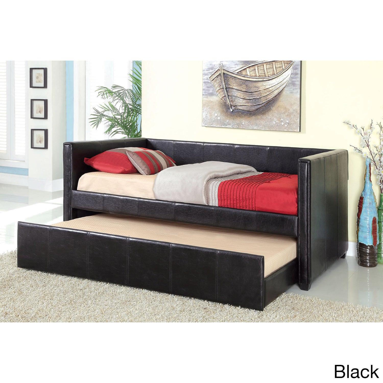 Furniture of America Grobina Leatherette Platform Daybed ...