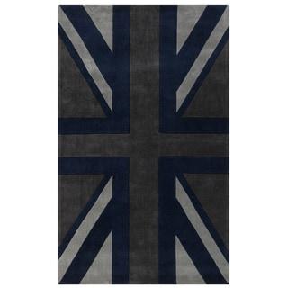 Hand-tufted Union Jack Novelty Contemporary Area Rug (8' x 11')