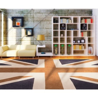 Hand-tufted Union Jack Novelty Contemporary Area Rug (8' x 11')