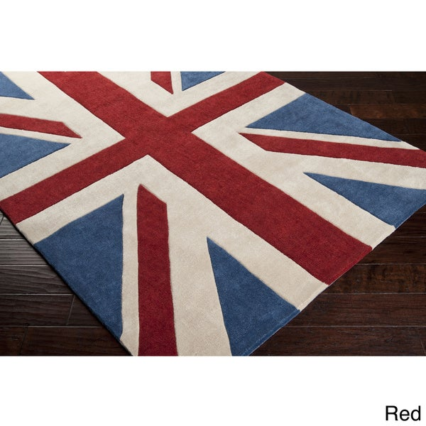 Hand Tufted Union Jack Novelty Contemporary Area Rug 8 X27