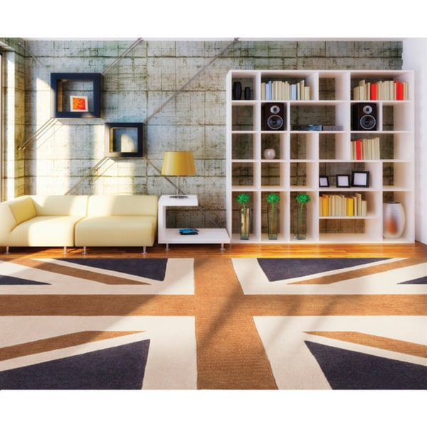 Hand-tufted Union Jack Novelty Contemporary Area Rug - 9' x 13'