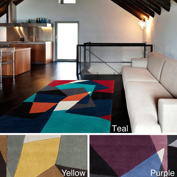 Hand-tufted Abstract Geometric Contemporary Area Rug (9' x 13')