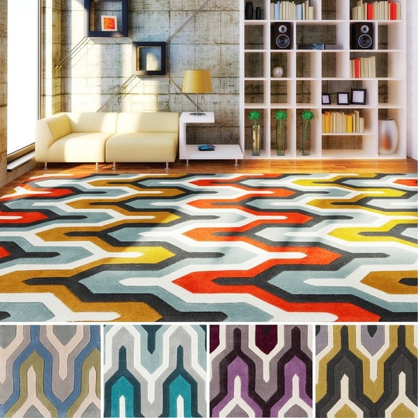 Hand Tufted Geometric Contemporary Area Rug 9 X27