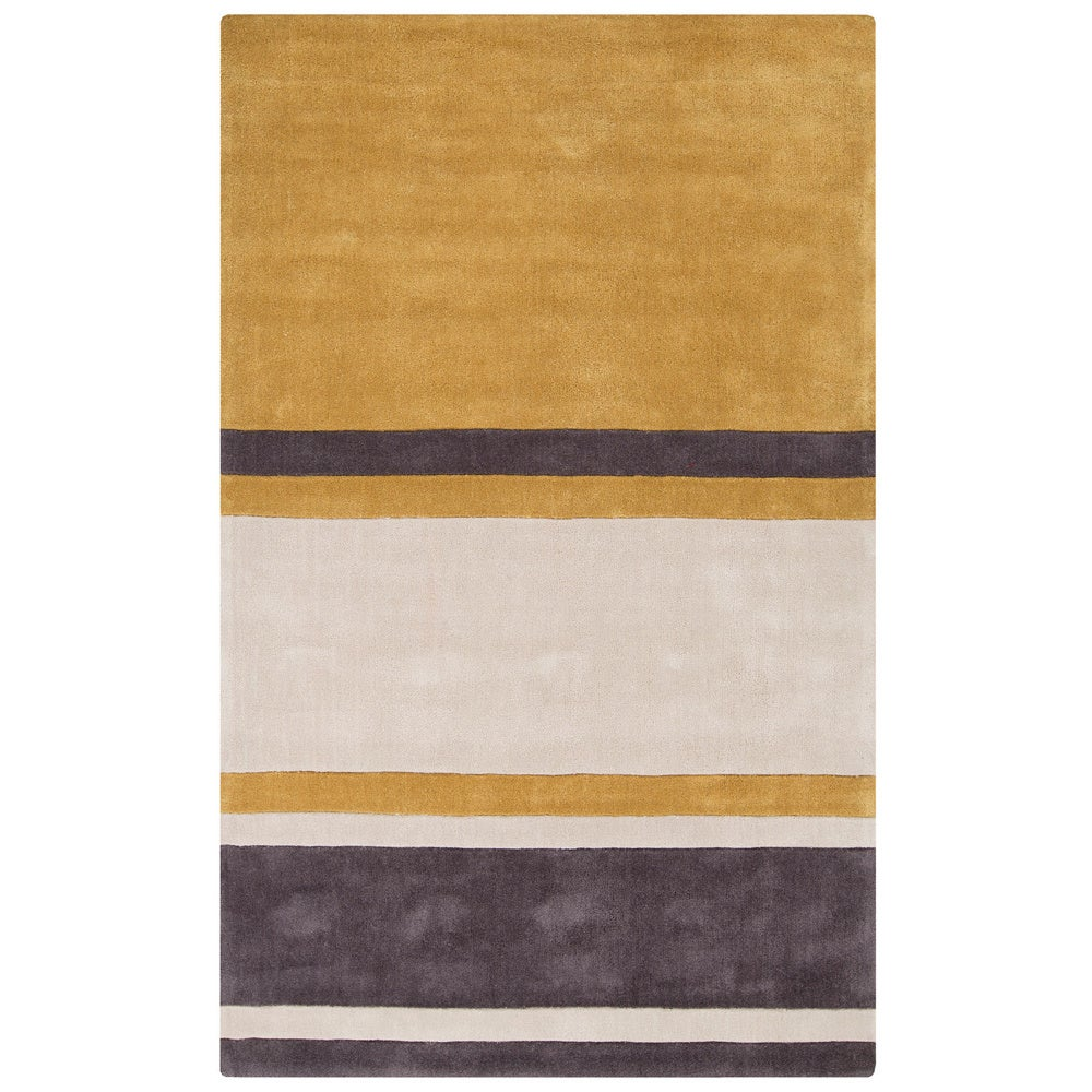 Hand-tufted Stripe Contemporary Area Rug (8' x 11') (Gold...