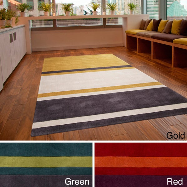 Hand-tufted Stripe Contemporary Area Rug
