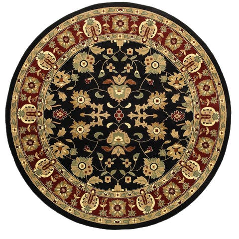 LR Home Adana Black/ Red Oriental Area Rug (6'2 Round) - 6'