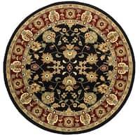 LR Home Adana Black/ Red Oriental Area Rug (6'2 Round) - 6'