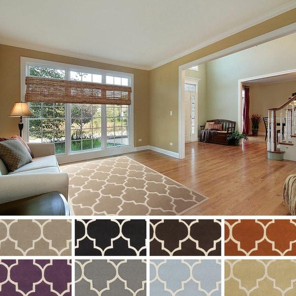 Hand-tufted Rachel Moroccan Tile Wool Area Rug - 5' x 8'