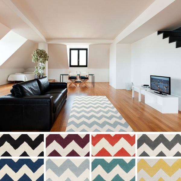 Hand-tufted Oliver Chevron Wool Area Rug (8' x 11')