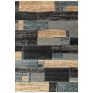 LNR Home Adana Blue/ Ivory Geometric Area Rug (7'9 x 9'9)