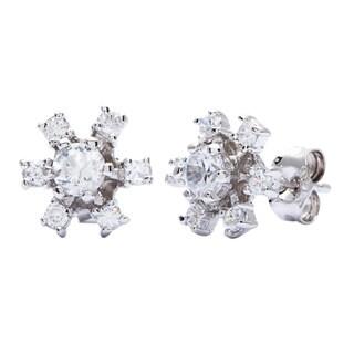 Sterling Silver Flower Petal Cubic Zirconia Earrings