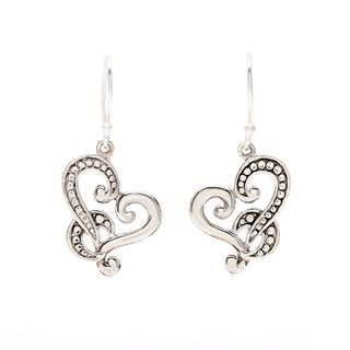 Sterling Silver Beaded Heart Earrings