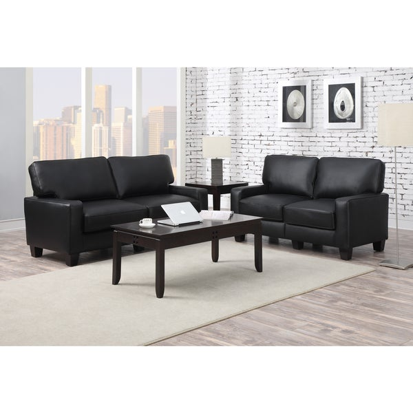 Shop Serta Rta Santa Rosa Collection 72 Inch Black Leather Sofa