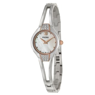 Pulsar Women's 'Easy Style' Stainless Steel Mother of Pearl Quartz Watch