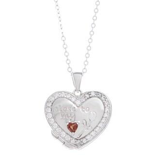La Preciosa Sterling Silver Cubic Zirconia Inscribed Heart Locket Necklace