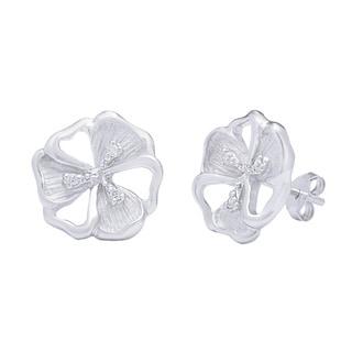 La Preciosa Sterling Silver and Cubic Zirconia Matte Flower Earrings