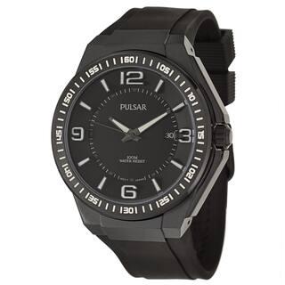 Pulsar Men's 'On The Go' Black Ion-plated Quartz Watch|https://ak1.ostkcdn.com/images/products/9089430/P16278938.jpg?impolicy=medium