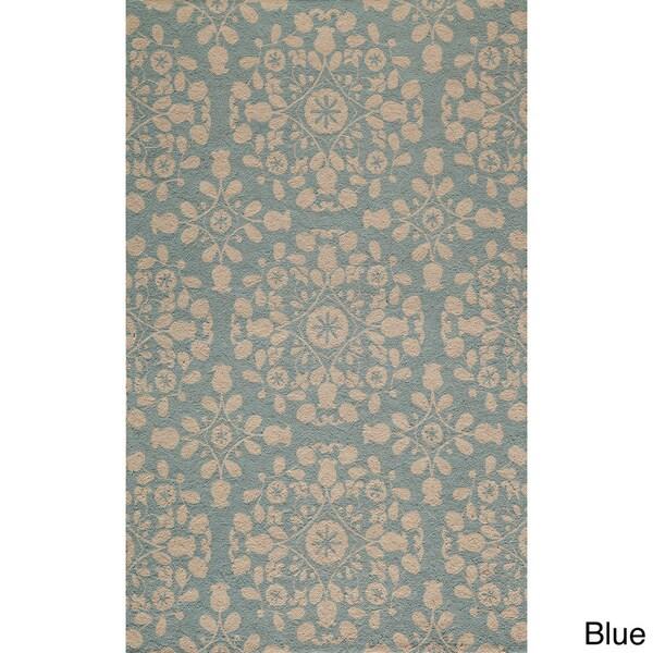 Momeni Suzani Hook Blue Hand-Hooked Wool Rug (5' X 8') - 5' x 8'