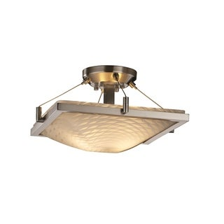 Justice Design Group Fusion 2-light Weave with Nickel Semi-flush