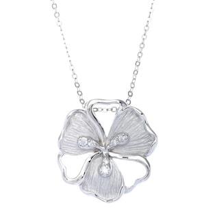 La Preciosa Sterling Silver and Cubic Zirconia Matte Flower Pendant Necklace