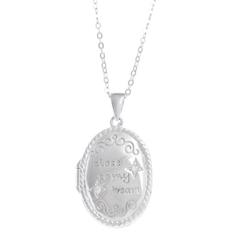 La Preciosa Sterling Silver Cubic Zirconia Inscribed Oval Locket