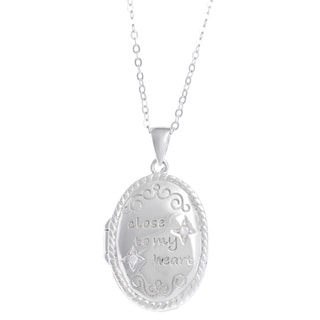 La Preciosa Sterling Silver Cubic Zirconia Inscribed Oval Locket