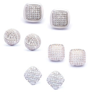 La Preciosa Sterling Silver Micro Pave Cubic Zirconia Stud Earrings (Set of 4)
