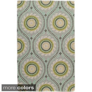Uzbek Essence Grey Hand-Hooked Wool Indoor Rugs (5' x 8')