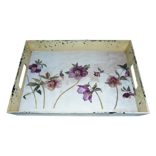 Handmade Set of 2 Vintage Floral Serving Trays (China)