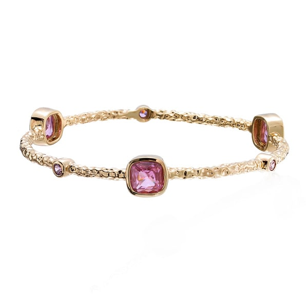 Riccova Arctic Mist Goldplated Pink Squares Hammered Bangle