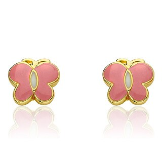 Little Miss Twin Stars Goldplated Pink And White Enamel Center Stripe Butterfly Earrings