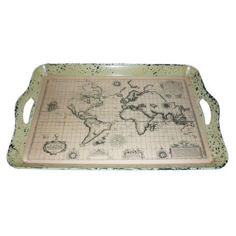 Handmade Set of 2 Vintage World Map Serving Trays (China)