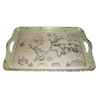 Handmade Set of 2 Vintage World Map Serving Trays (China)