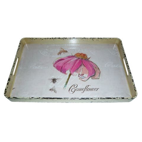 Handmade Set of 2 Vintage Coneflower Serving Trays (China)