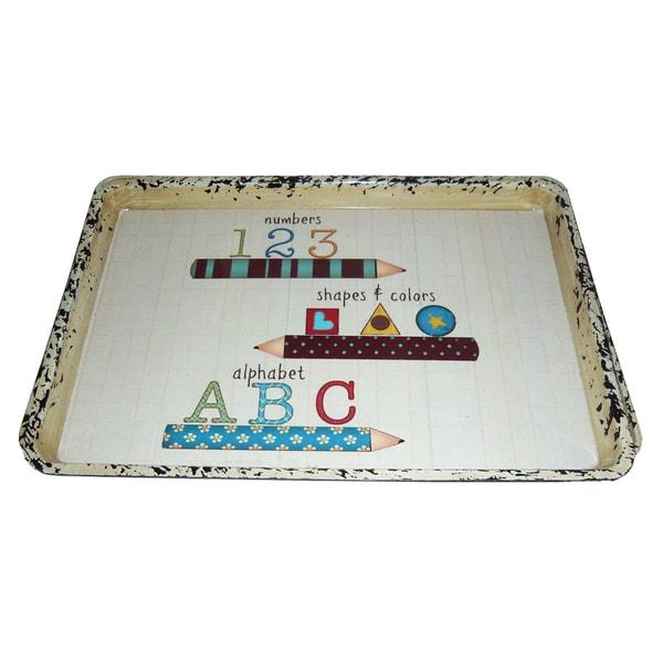 Handmade Set of 2 Number-Shapes-Alphabet Serving Trays (China)