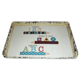 Handmade Set of 2 Number-Shapes-Alphabet Serving Trays (China)