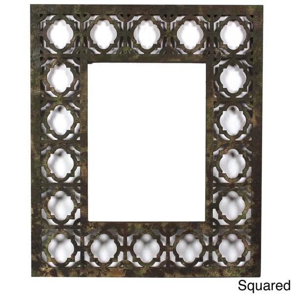 Handmade Distressed Wooden Filigree Framed Wall Mirror (China)