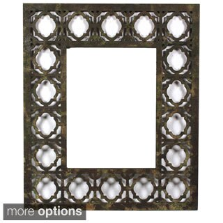 Handmade Distressed Wooden Filigree Framed Wall Mirror (China)