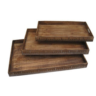 Handmade Set of 3 Wooden Ruler Serving Trays (China)