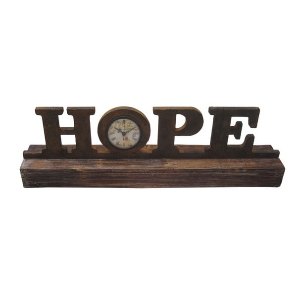 Handmade Distressed Wooden 'Hope' Clock Accent Piece (China)