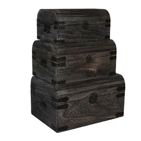 Handmade Dark Brown Nested Wooden Storage Boxes (Set of 3) (China)