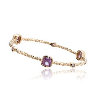Riccova Arctic Mist 14k Goldplated Lavender Cubic ZIrconia Bangle Bracelet