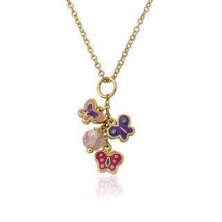 Little Miss Twin Stars 14k Goldplated Multi-colored Enamel Butterflies/ Crystal Cluster Necklace