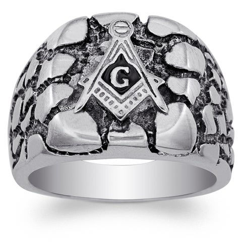 Stainless Steel Men's Masonic Nugget Ring