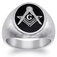 Stainless Steel Men's Crystal Accent Masonic Oval Textured Ring