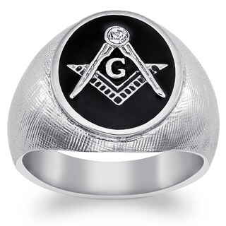 Stainless Steel Men's Crystal Accent Masonic Oval Textured Ring (More options available)