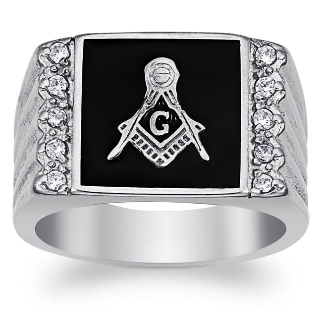 Men's Stainless Steel Cubic Zirconia Ridged Band Masonic ...