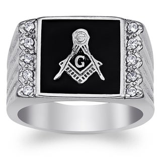 Men's Stainless Steel Cubic Zirconia Ridged Band Masonic Ring