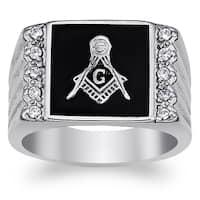 Men's Stainless Steel Cubic Zirconia Ridged Band Masonic Ring