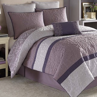 Shop Nicole Miller Damask Purple 7 Piece Comforter Set